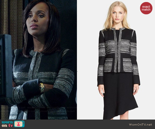 L'Agence Boucle Striped Jacket worn by Kerry Washington on Scandal