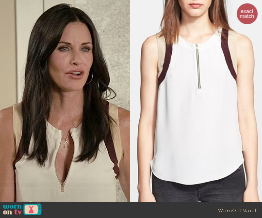 L'Agence Contrast Trim Zip Front Silk Blouse worn by Courtney Cox on Cougar Town
