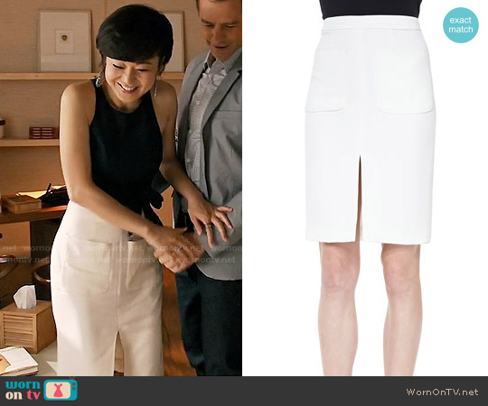 L'Agence Two-Pocket Slit Pencil Skirt worn by Karen Rhodes on Mistresses