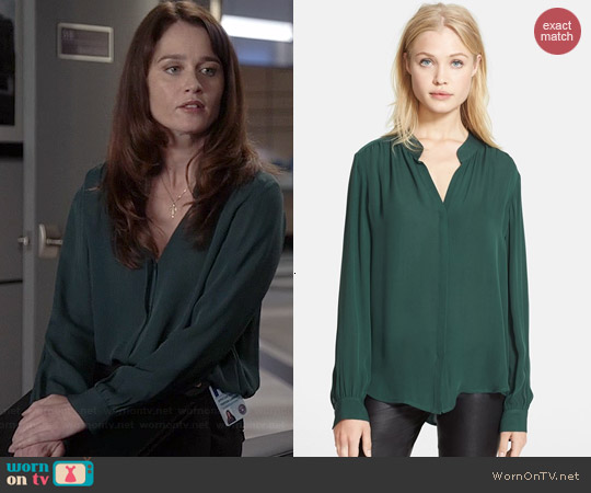 L'Agence Green Silk Georgette Blouse worn by Robin Tunney on The Mentalist