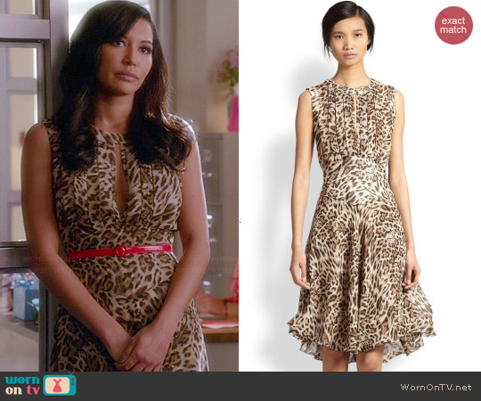 L'Agence Leopard Print Pleated Keyhole Dress worn by Naya Rivera on Glee