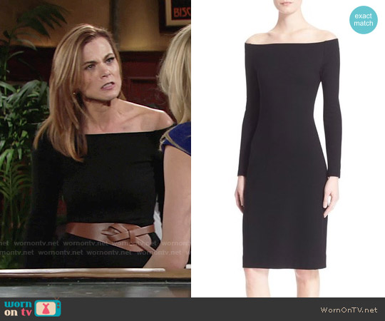L'Agence Off the Shoulder Sheath Dress worn by Gina Tognoni on The Young & the Restless