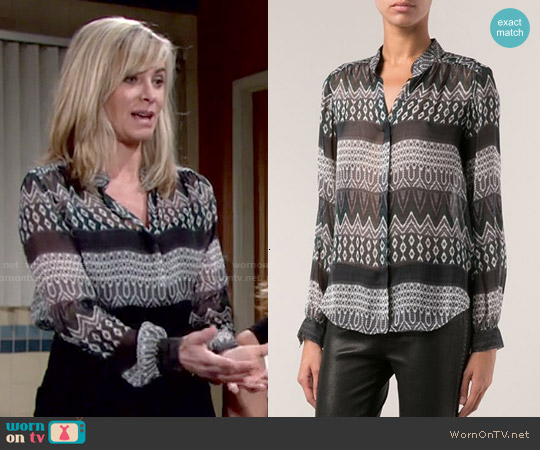 L'Agence Printed Blouse worn by Eileen Davidson on The Young & the Restless