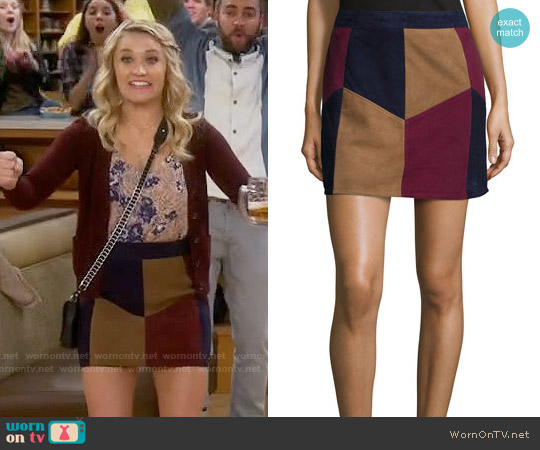 LaMarque Kewa Patchwork Suede Skirt worn by Emily Osment on Young & Hungry