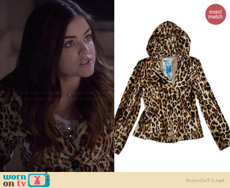 L.A.M.B. Leopard Fur Hooded Jacket worn by Lucy Hale on PLL