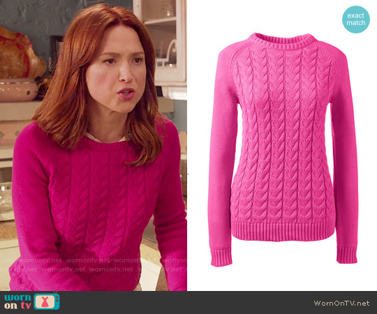 Lands End Drifter Cable Sweater in Vibrant Magenta worn by Ellie Kemper on Unbreakable Kimmy Schmidt