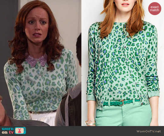 Lands End Supima Cardigan in Caspian Blue Leopard worn by Lindy Booth on The Librarians