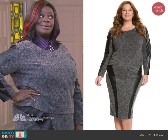 Lane Bryant Tweed and Faux Leather Top and Skirt worn by Retta on Parks & Recreation