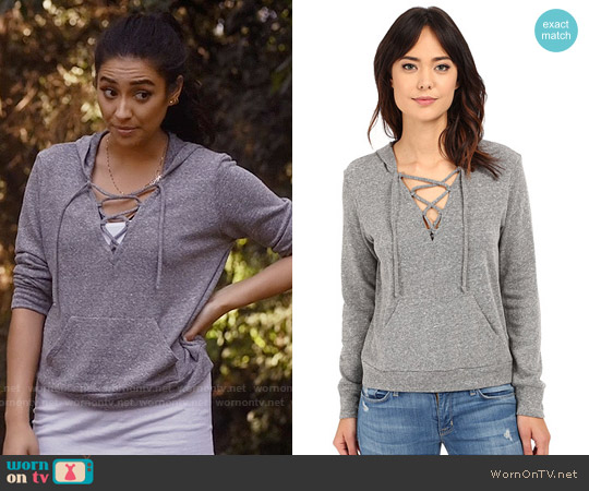 Lanston Lace Up Hoodie worn by Shay Mitchell on PLL