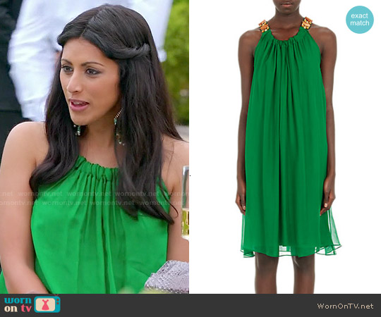 Lanvin Jeweled Neck Chiffon Trapeze Dress worn by Reshma Shetty on Royal Pains