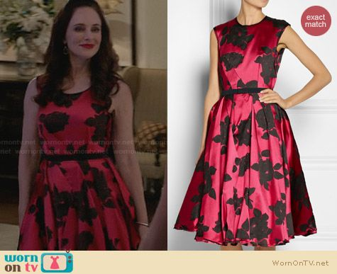 Lanvin Belted Floral Jacquard Dress worn by Madeleine Stowe on Revenge