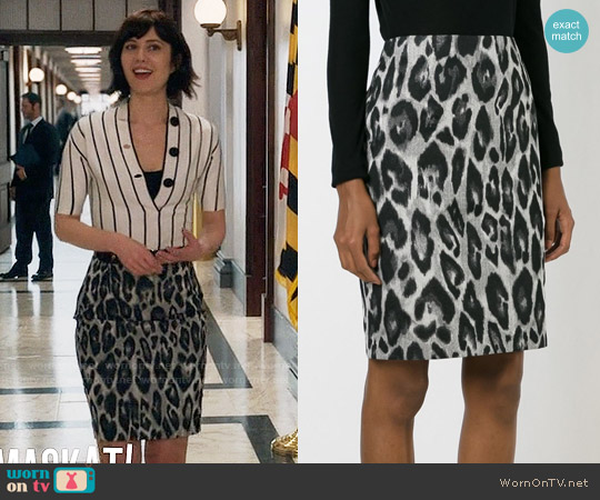 Lanvin Leopard Skirt worn by Laurel Healy on BrainDead