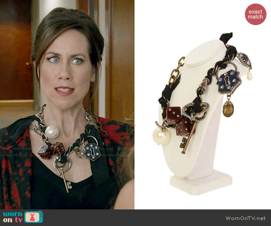 Lanvin Lucky Charm Necklace worn by Miriam Shor on Younger