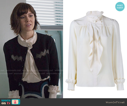 Lanvin Ruffle Blouse worn by Mary Elizabeth Winstead on BrainDead