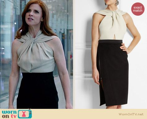 Lanvin Twist-Halter Colorblock Dress worn by Sarah Rafferty on Suits