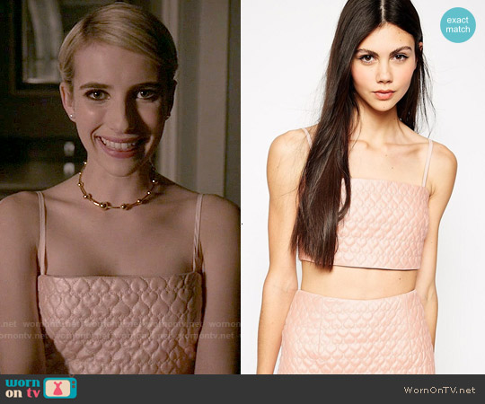 Lashes of London Quilted Bralet worn by Emma Roberts on Scream Queens