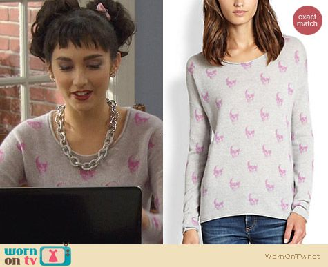 Last Man Standing Fashion: 360 Sweater Pink Jack All Over Skull Sweater worn by Molly Ephraim