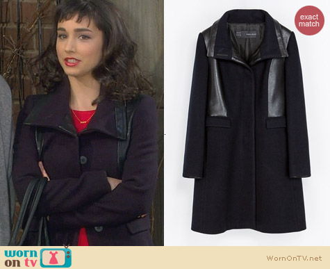 Last Man Standing Fashion: Combined Faux Leather Coat worn by Molly Ephraim