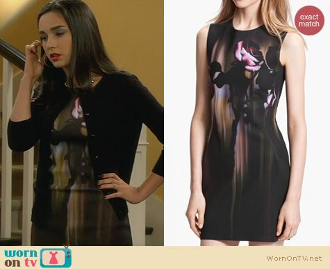 Last Man Standing Fashion: Faith Connexion Rose print neoprene dress worn by Molly Ephraim
