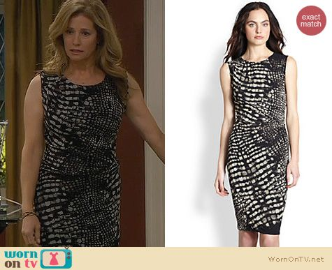 Last Man Standing Fashion: Fuzzi Croc Print Dress worn by Nancy Travis