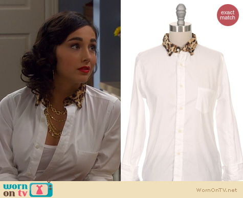 wornontv mandy�s white shirt with leopard fur collar on