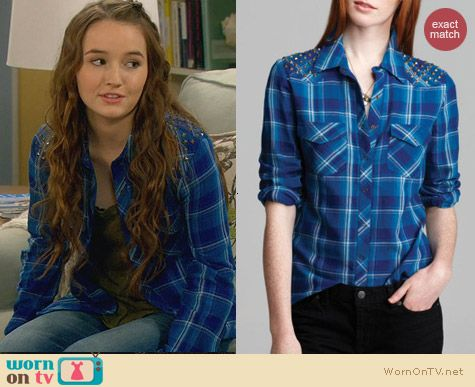 Last Man Standing Fashion: Guess Blue Plaid Studded Shirt worn by Kaitlyn Dever