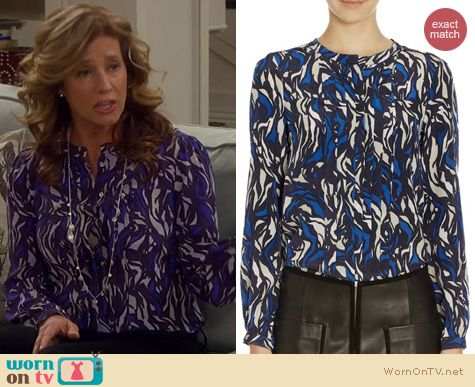 Last Man Standing Fashion: Isabel Marant Pleated print blouse worn by Nancy Travis