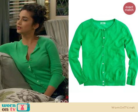 Last Man Standing Clothes: J. Crew Cashmere Cardigan in Festival Green worn by Molly Ephraim