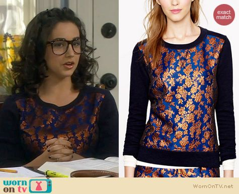 Last Man Standing Fashion: J. Crew Floral Sweatshirt worn by Molly Ephraim