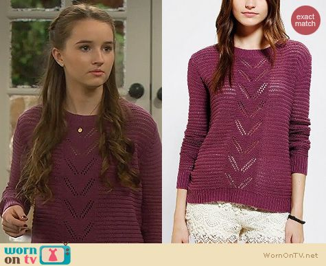 Last Man Standing Fashion: Kimchi Blue Chevron Pointelle Sweater in Mauve worn by Kaitlyn Dever