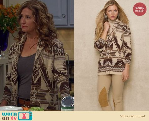 Last Man Standing Fashion: Ralph Lauren Aztec Shawl Collar Cardigan worn by Nancy Travis