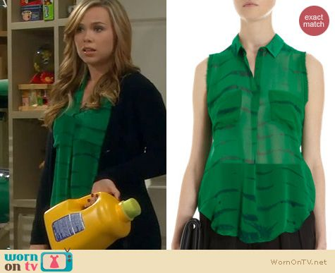 Last Man Standing Fashion: Raquel Allegra Green Tie Dye Top worn by Amanda Fuller