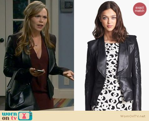 Last Man Standing Fashion: Rebecca Minkoff Leather and Ponte jacket worn by Amanda Fuller