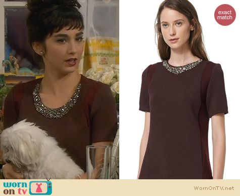 Last Man Standing Fashion: Rebecca Taylor Ponte Embellished Top worn by Molly Ephraim