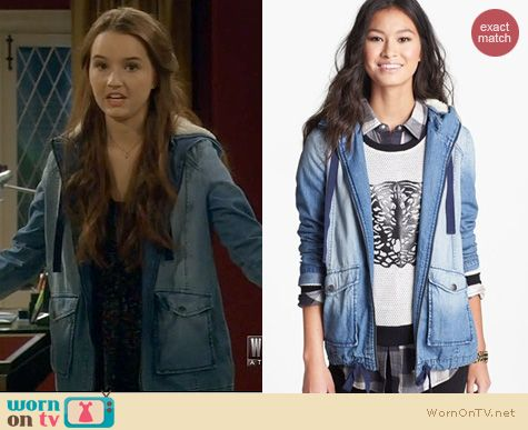 Last Man Standing Fashion: Rubbish Faux Shearling Hooded Denim Jacket worn by Kaitlyn Dever