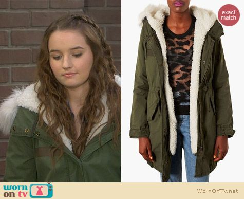 Last Man Standing Fashion: Topshop Joey Faux Fur Parka worn by Kaitlyn Dever
