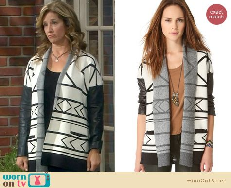 Last Man Standing Fashion: Twelfth Street by Cynthia Vincent Log Cabin Cardigan worn by Nancy Travis