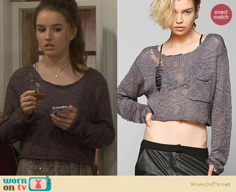 Last Man Standing Fashion: Urban Outfitters KC Kill City Boucle Cropped Sweater worn by Kaitlyn Dever