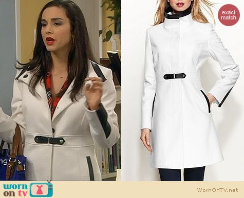 Last Man Standing Fashion: Via Spiga Faux Leather Trim Walker Coat worn by Molly Ephraim