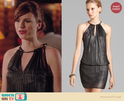 Laundry by Shelli Segal Foil Blouson Dress worn by Aya Cash on You're the Worst