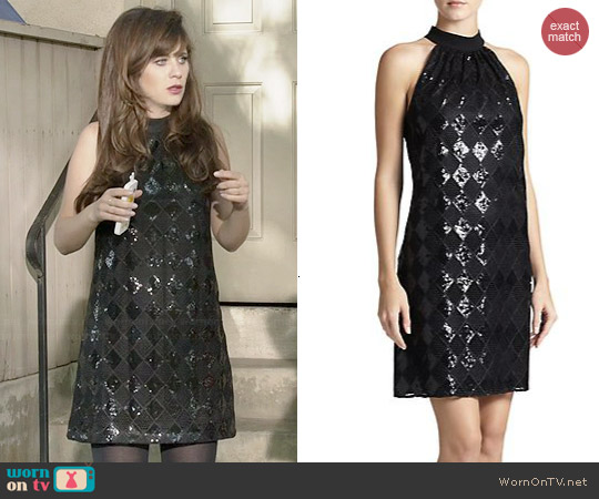 Laundry by Shelli Segal Sequined Diamond Lace Dress worn by Zooey Deschanel on New Girl