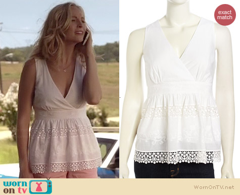 Laundry by Shelli Segal Embroidered Crochet Inset Top worn by Candice Accola on The Vampire Diaries