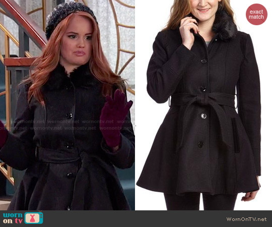 Laundry by Shelli Segal Faux Fur Collar Wool-Blend Trench Coat worn by Debby Ryan on Jessie