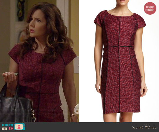 Laundry by Shelli Segal Seam Detail Dress in Hot Date Multi worn by Maria Canals-Barrera on Cristela