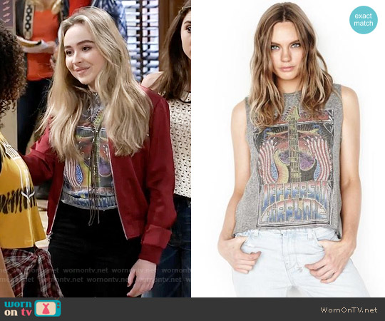 Lauren Moshi Kinzington Jefferson Airplane Vintage Crop Tank worn by Sabrina Carpenter on Girl Meets World