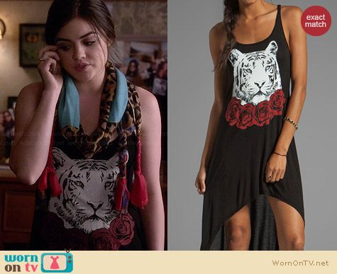Lauren Moshi Daria Red Rose Tiger Tank Dress worn by Lucy Hale on PLL