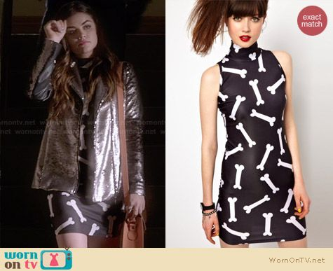 Lazy Oaf Bones Dress worn by Lucy Hale on PLL