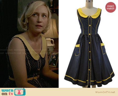 Le Bomb Shop Peter Pan Collared Polka Dot Dress worn by Vera Farmiga on Bates Motel