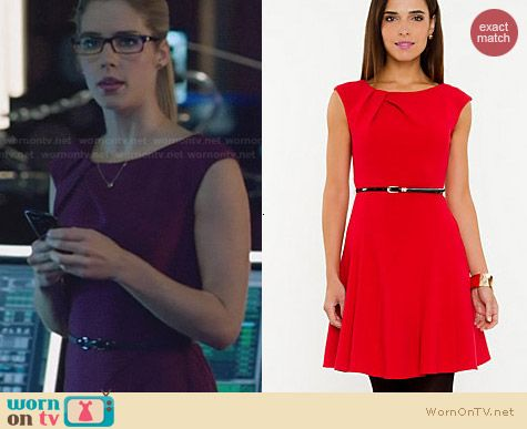 Le Chateau Double Weave Fit & Flare Dress worn by Emily Bett Rickards on Arrow
