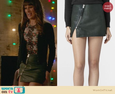 Lea Michele Fashion: All Saints Leather Split Lucille Skirt worn on Glee
